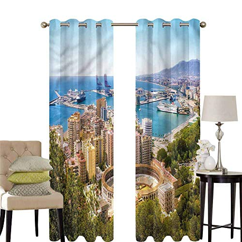 hengshu Landscape Patio Door Curtains for Bedroom Aerial View of Malaga Thermal Insulated Noise Reducing W120 x L84 Inch (Malaga Los Patios)