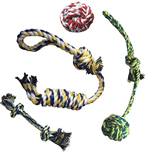 Dog Chew Rope Toys Set of 4 – Puppy Chewing Ropes for Small, Medium and Large Breed Dogs – Made of Eco Friendly Cotton Fibers – Indestructible, Durable & Safe for Pets by Pup of Fun