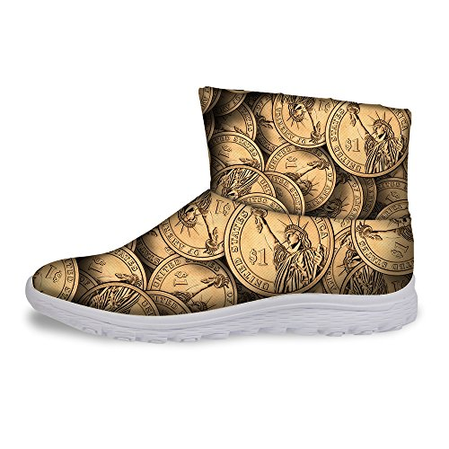Short Style Winter Coin U Women DESIGNS Ankle for Fashion Gold Boots FOR Money Brown Warm nxq0YZwvp