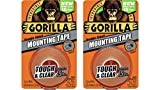"Gorilla 6065016  6065001-2 Double-Sided Tough and Clear Mounting Tape (2 Pack), 1"" x 60"", Clear"