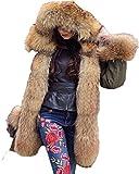 Roiii Women Military Winter Warm Thicken AmryGreen Luxury Faux Fur Coat Outdoor Hood Parka Long Jacket Plus Size (XX-Large, AmryGreen)