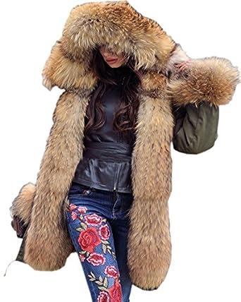 Roiii Women Thicken Winter Coat Hood Parka Long Faux Fur Jacket ...
