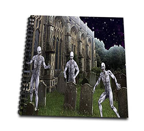 3dRose Sandy Mertens Halloween Designs - Zombie Monsters in Graveyard on Halloween Night, 3drsmm - Drawing Book 8 x 8 inch -