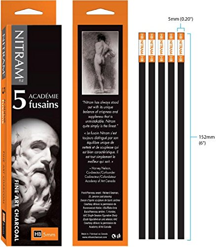 Nitram Academie Fusains Fine Art Charcoal HB Box of -