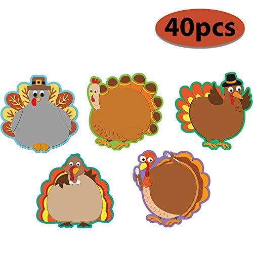 Thanksgiving Bulletin Board Decorations (40 Pieces Turkey Colorful Cut-Outs Versatile Classroom Decoration Creative Turkey Cut-Outs with Glue Point Dots for Bulletin Board Classroom School Fall Theme Thanksgiving Party, 5.9 x 5.9)