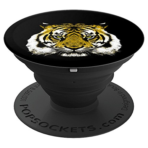 Tiger Face Phone Socket - Jungle Big Cats Love, Big Cat Lady - PopSockets Grip and Stand for Phones and Tablets by Agendum Dabbing Zoo