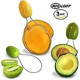 AvoLoop - Fast peel any fruit or soft vegetable with ease. Avocado Slicer Peeler Pitter Scooper, Mango Corer, Kiwi Fruit Scoop Kitchern Tool. EZ-clean 3 in 1 vegetable peeler set.