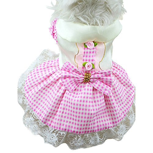 Gooldu Dog Dresses for Small Dogs Girl - Pet Clothes Princess Plaid Lace Tutu Skirt Shirt for Chihuahuas Dachshunds - Puppy Outfits Cat