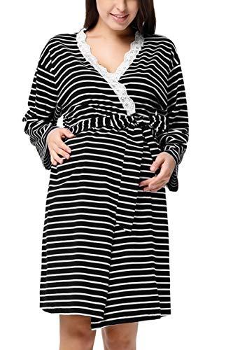 GRACE KARIN Pregnant Women Maternity Stripe Long Sleeve Nursing Breastfeeding Robe S Black