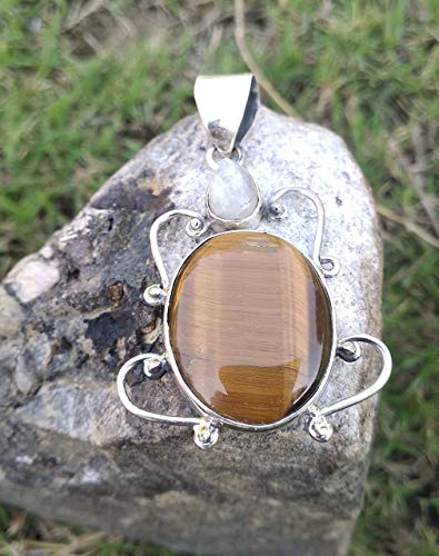 Tiger Eye & Moonstone Pendant, 925 Sterling Silver, Healing Crystal, Natural Stone, Two Stone Pendant, Bohemian Jewelry, Bridesmaids Gift, Promise Pendant, Wedding & Engagement Gift, Gift For Her