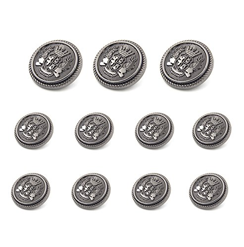 Funcoo 11 pcs Antique Metal Blazer Button Vintage Suits Button Set for Blazer, Suits, Sport Coat, Uniform, Jacket (Black(as picture shows)) by Funcoo