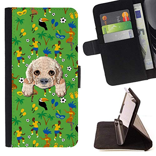 ([ Cocker Spaniel ] Embroidered Cute Dog Puppy Leather Wallet Case for LG V30 [ Football Carnival Dancer Pattern)