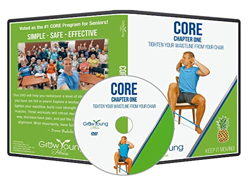 Grow Young Fitness Chair Exercises for Seniors – Core DVD – Simple Safe Effective Core Workout DVD for Elderly + Bonus Free 3 Pack of Exercise Bands for MAX Results