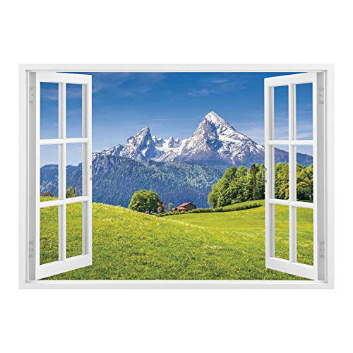 (SCOCICI Wall Mural, Window Frame Mural/Nature,Pastoral Landscape in Alps with Meadow and Flowers Northern German Heaven Print,Green Blue/Wall Sticker Mural)