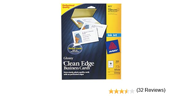 Amazon avery clean edge business cards for inkjet printers amazon avery clean edge business cards for inkjet printers glossy white pack of 200 08879 business card stock office products colourmoves