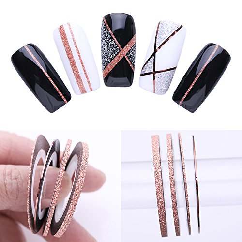 Matte Stripe (3 Pcs Nail Striping Tape Lines Set Rose Gold Matte Glitter 1mm 2mm 3mm Adhesive Stickers Nail Art DIY Styling Tool)