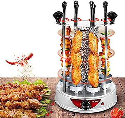 Angela Horno asador Vertical pequeño, Parrilla eléctrica sin Humo, máquina de Asar rotativa automática, 8 Horquillas, Apto para Uso Familiar en la Cocina: Amazon.es: Hogar