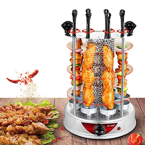 ANGELA Small Vertical Rotisserie Oven, Smokeless Electric Grill, Automatic Rotary Grilling Machine, 8 Forks, Suitable for Families Kitchen Use (Difference Between Air Fryer And Convection Oven)