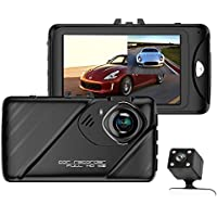 Dual Dash Cam and Rear Camera,3.0FHD 1080P 170 Degree Dashboard Camera Recorder with 140 Degree Backup Camera/Loop Recording,Motion Detection,Parking Monitor,Night Vision,Digital Zoom,Date Stamp