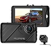 """Dual Dash Cam Front and Rear Camera,3.0""""FHD 1080P 170 Degree Car Dashboard Camera with 140 Degree Backup Camera,Loop Recording,Motion Detection,Parking Monitor,Night Vision,Digital Zoom,Date Stamp"""