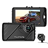"Dual Dash Cam Front and Rear Camera,3.0"" FHD 1080P 170 Degree Car Dashboard Camera with 140 Degree Backup Camera,Loop Recording,Motion Detection,Parking Monitor,Night Vision,Digital Zoom,Date Stamp"