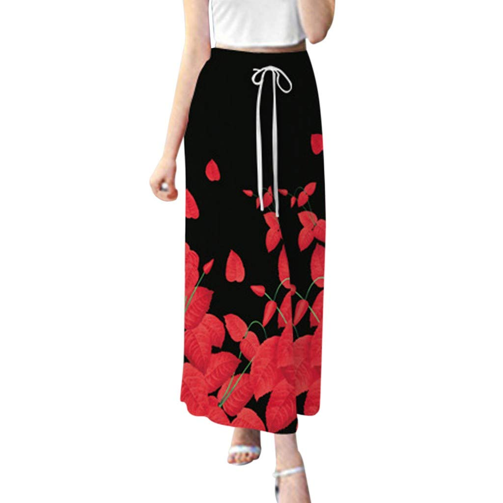 Nadition Ladies Fashion Pants ❣ Women Personality Print Straight Wide Leg Pants Elastic Waist Strappy Long Trousers