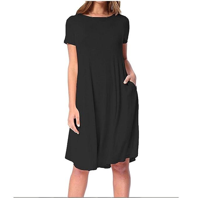 WILLTOO ✿ Women Summer Casual Straight Short Sleeve Party Dress Knee Length Dress