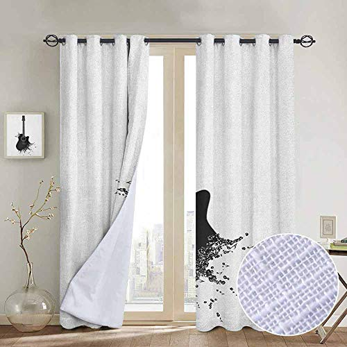 (NUOMANAN Curtains Guitar,Monochrome Musical Instrument with Strings Acoustic Color Splashes Creative Outlet, Black White,Treatments Thermal Insulated Light Blocking Drapes Back for Bedroom 100