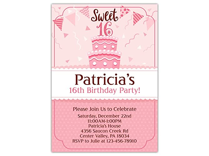 Custom Sweet 16 Birthday Party Invitations 10pc 60pc 4x6 Or 5x7 Cards With White Envelopes Printed On Premium 265gsm Card Stock In Matte
