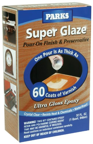 Rust-Oleum Parks Super Glaze, 241352 Ultra Glossy Epoxy Finish and Preservative Kit, Clear 32 Fl Oz