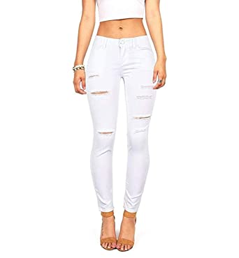 be333abd74a3 Women's Juniors Mid-Rise Distressed Slim Fit Skinny Jegging Jeans at Amazon  Women's Jeans store