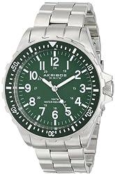 Akribos XXIV Men's AK689GN Essential Swiss Quartz Green Dial Stainless Steel Watch