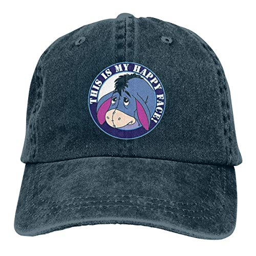 Face Cap Happy (EAPOD MLFCTQK This is My Happy Face Fashion Baseball Cap Unisex Cool Soft Cowboy Hat Navy)