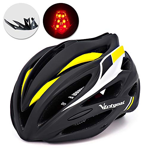 VICTGOAL Bike Helmet with Detachable Visor Back Light & Insect Net Padded Adjustable Sport Cycling Helmet Lightweight Bicycle Helmets for Adult Men and Women Youth Teenagers (Black Yellow) ()