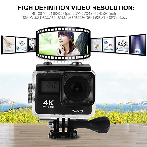 Acouto Wifi Action Camera 4K Ultru HD 2 Inch Touch Screen Camera 12MP 170 Degree Wide Angle View Sport Cam Underwarter Camcorder with Waterproof Housin Case,Remote Controller Accessories Kit by Acouto (Image #6)
