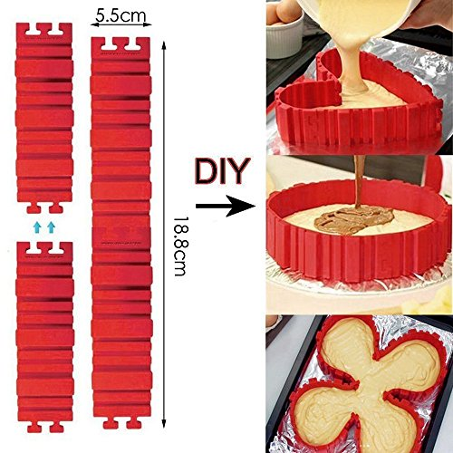 Nonstick 4PCS Silicone Cake Mold Cake Pan Magic Bake Snake DIY Baking Mould Tools - Design Your Cakes Any Shape (Chocolate Pour Bottom Box Mold)
