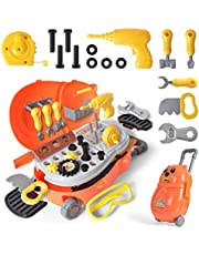 29 Pieces Toy Tool Set, Construction Working Toddler Tools Educational Pretend Play Set with Suitcase Ideal Gifts Yellow