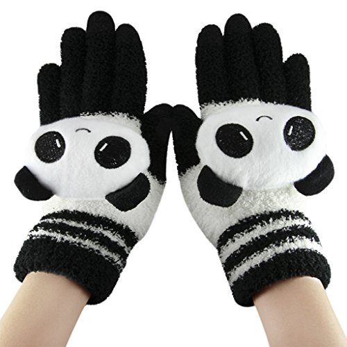 Cute Cartoon Animal Touchscreen Gloves Thick Smart Texting Mittens Winter Warm Cozy Full Finger knitted Gloves for Outdoor Activities Women Girls - Animal Gloves
