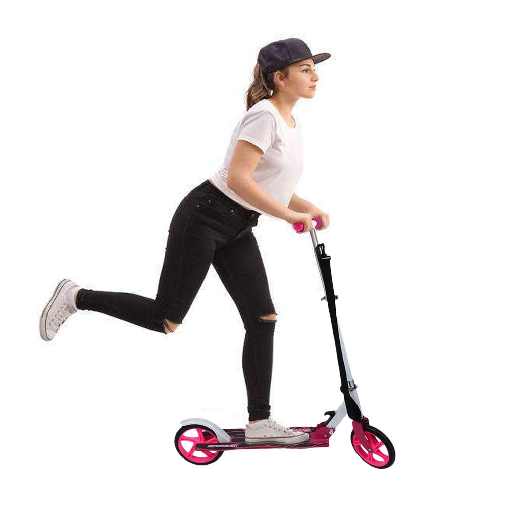 Scooter plegable de 2 Ruedas, Patinete Altura Ajustable y Manillar Ajustable, Carga 120KG para Adultos (Rosa) Homgrace