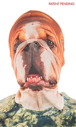 Faux Real Unisex-Adult's Halloween 3D Photo-Realistic Full Fabric Face Mask, Bulldog, One Size Fits