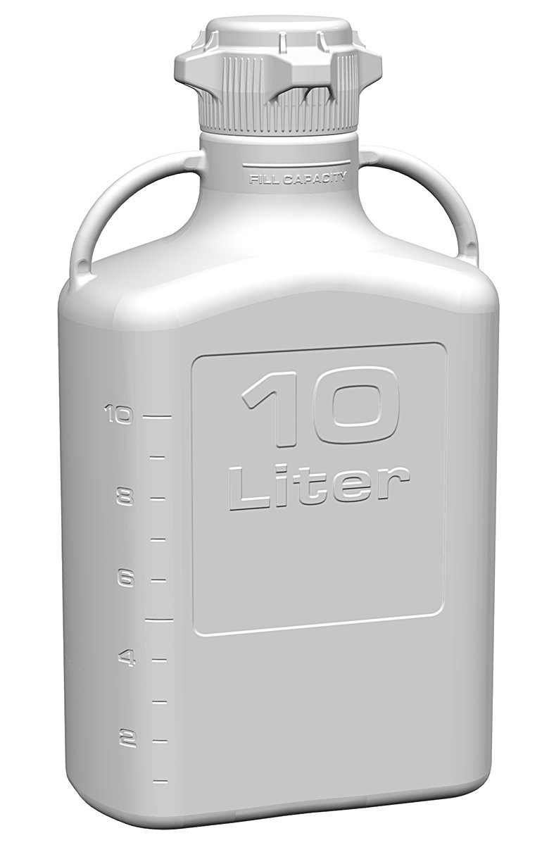 EZgrip 10L (2.5 Gal) Autoclavable Polypropylene Space Saving Carboy with 83mm (83B) VersaCap and 13L Max Capacity