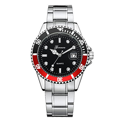 Mens Quartz Watch,Ulanda-EU GONEWA Unique Analog Business Casual Date Sport Wristwatch,Clearance Cheap Watches with Round Stainless steel Dial Case,Stainless steel Band la8 (Red)