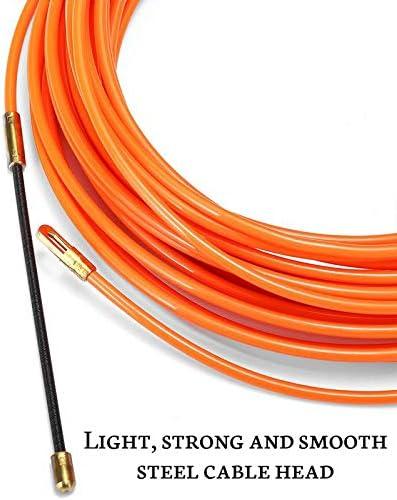 Growment 4Mm 40 M/èTres De Dispositif De Guidage Orange En Nylon De Cable /éLectrique Push Pullers Duct Snake Rodder Fish Tape Wire