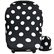 Baby Car Seat Cover canopy nursing and breastfeeding cover(black and white dot)