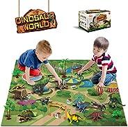 Dinosaur Toys - 12 Pcs Dinosaur Figures, Activity Play Mat & Trees for Creating a Dino World Including T-R