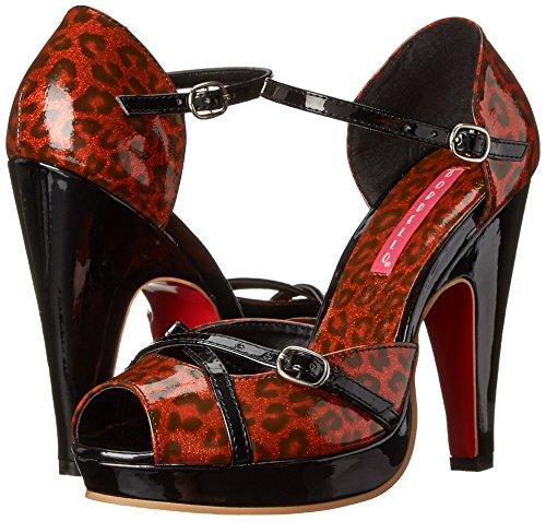 Bordello - Sandalias de vestir para mujer, color rojo, talla 41.5 Red Pearlized Cheetah Pat