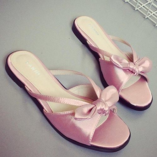 LANDFOX Zapatos de Bowknot de verano de las mujeres Peep-toe zapatos bajos Zapatos romanos de sandalias Flip Flops Rosado