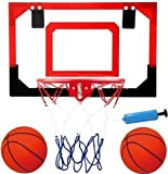 Professional Grade Over the door Basketball Hoop with Pre-Installed Door Hooks, GREAT for Kids and Adults too!! With Steel RIM!!! Now W/ 2 Basketballs & PUMP! Makes a Great Birthday or Fun Gift Idea!