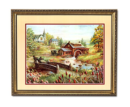 (Church Mill Horse Buggy Flower Landscape Wall Picture Gold Framed Art Print)