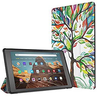 TiMOVO Slim Case for All-New Amazon Fire HD 10 Tablet (9th Generation, 2019 Release and 7th Generation, 2017 Release) - Ultra Lightweight Stand Cover Case for Fire HD 10.1 Inch Tablet, Lucky Tree